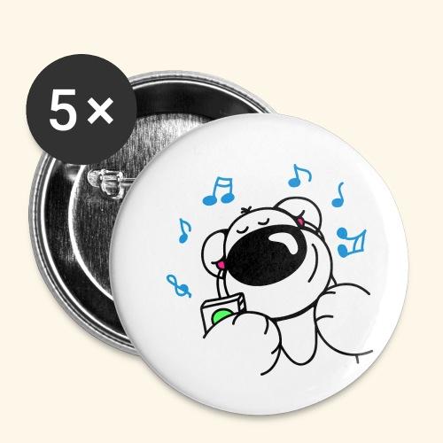 Der Bär hört Musik - Buttons klein 25 mm (5er Pack)