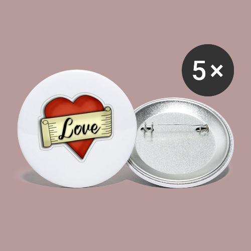 Love cœur tatouage - Lot de 5 petits badges (25 mm)