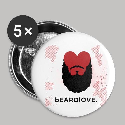 BeardLove - Buttons klein 25 mm (5er Pack)