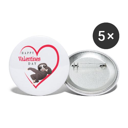 Sloth Valentines Day - Buttons klein 25 mm (5er Pack)