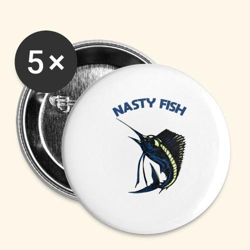 Nasty Fish - Voilier - Lot de 5 petits badges (25 mm)