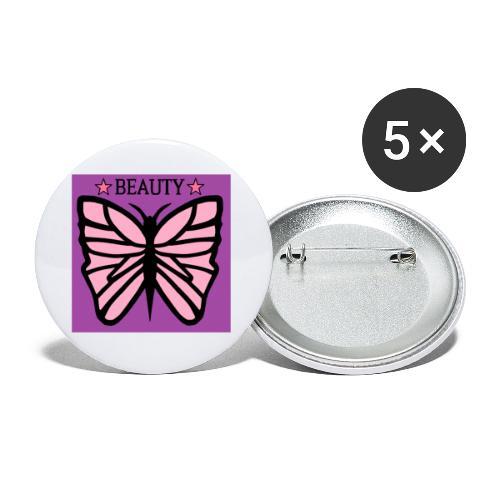 Fjäril beauty med färgerna rosa svart lila - Små knappar 25 mm (5-pack)