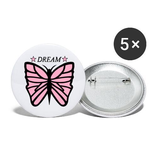 Fjäril, Dream rosa vit svart - Små knappar 25 mm (5-pack)