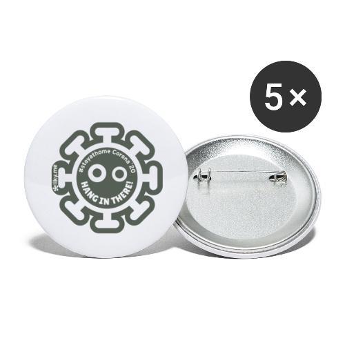 Corona Virus #stayathome grey - Paquete de 5 chapas pequeñas (25 mm)