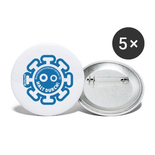 Corona Virus #WirBleibenZuhause blau - Paquete de 5 chapas pequeñas (25 mm)