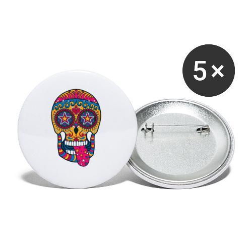 Mexican Skull - Confezione da 5 spille piccole (25 mm)