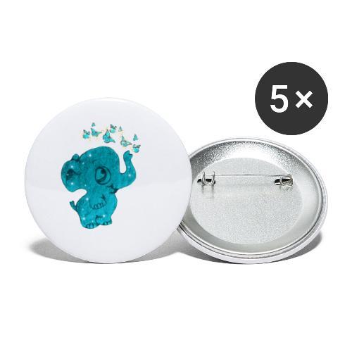 Elefante - Confezione da 5 spille piccole (25 mm)