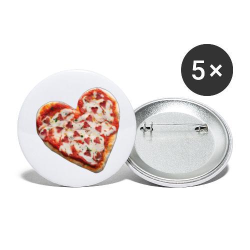 Pizza a cuore - Confezione da 5 spille piccole (25 mm)