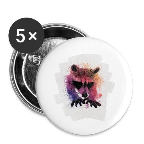 Waschbär Aquarell - Buttons klein 25 mm (5er Pack)