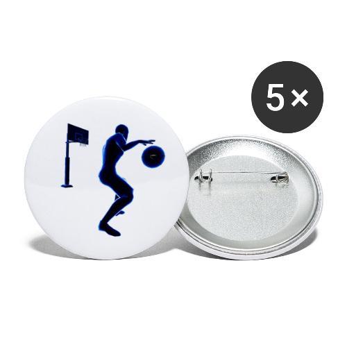 Joueur Basket - Lot de 5 petits badges (25 mm)