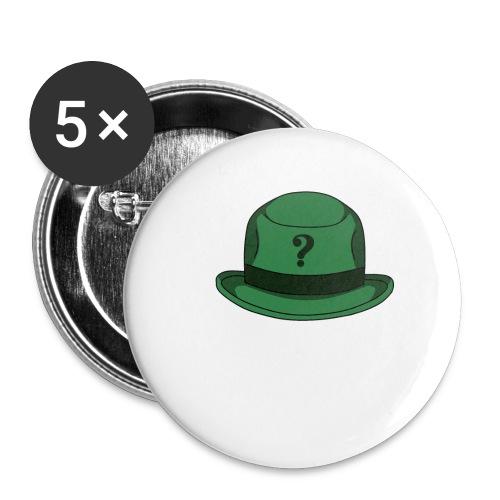 Grüner Rätsel Hut Riddler - Buttons klein 25 mm (5er Pack)