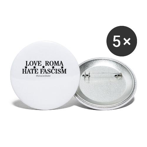 Love Roma Hate Fascism - Buttons klein 25 mm (5er Pack)