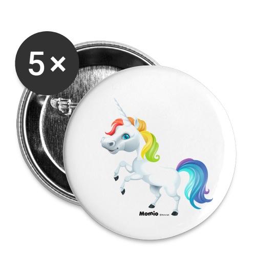 Rainbow yksisarvinen - Rintamerkit pienet 25 mm (5kpl pakkauksessa)