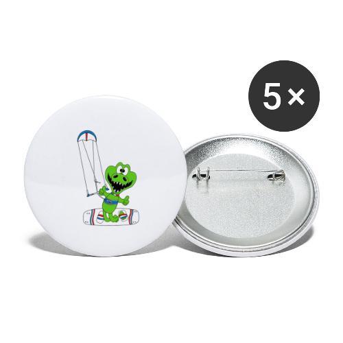 Lustiges Krokodil - Kite - Kiter - Kitesurfer - Buttons klein 25 mm (5er Pack)