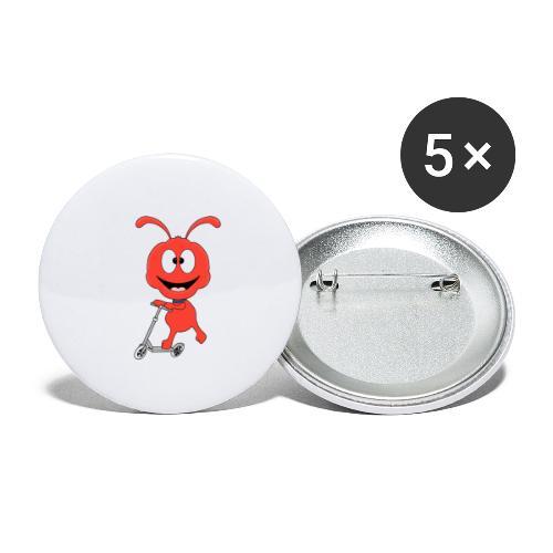 Lustige Ameise - Roller - Sport - Kind - Baby - Buttons klein 25 mm (5er Pack)