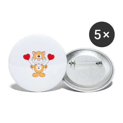 Lustiger Hamster - Herzen - Luftballons - Liebe - Buttons klein 25 mm (5er Pack)