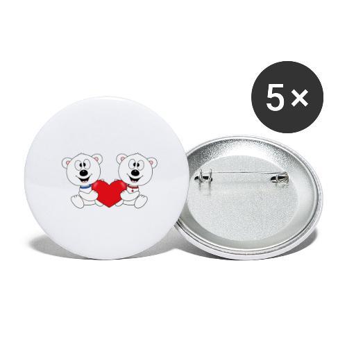 Lustige Eisbären - Herz - Liebe - Love - Fun - Buttons klein 25 mm (5er Pack)