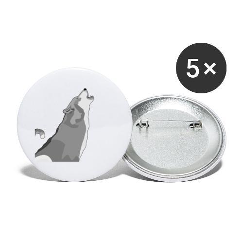 Wolf heulend - Buttons klein 25 mm (5er Pack)