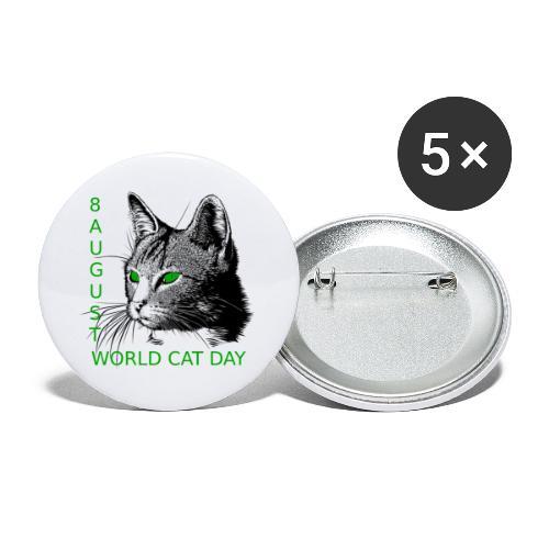 Gatto, 8 agosto la sua giornata mondiale - Confezione da 5 spille piccole (25 mm)