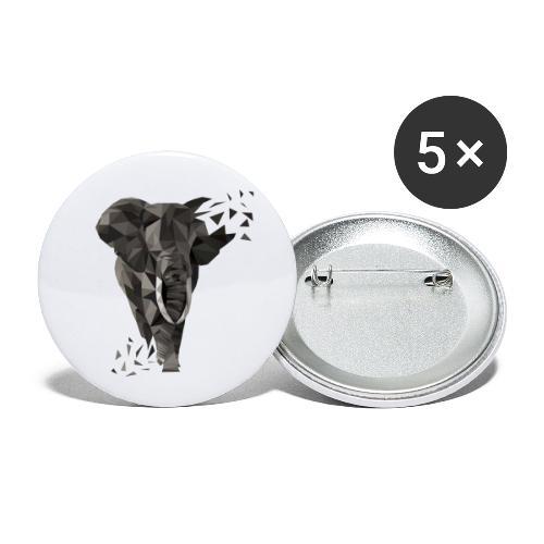 ELEFANT I Low Poly Art - Buttons klein 25 mm (5er Pack)