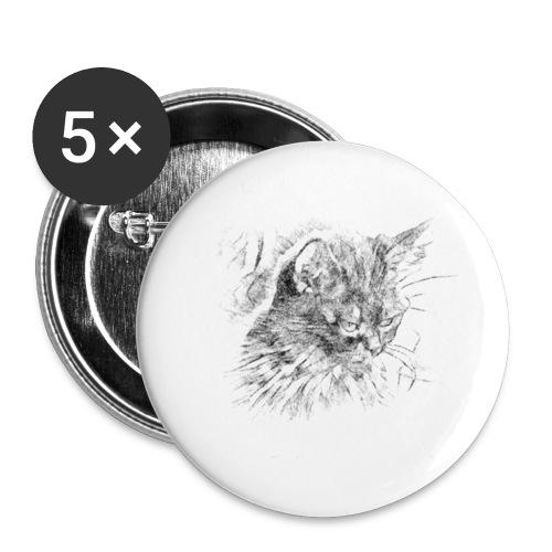 chat triste - Lot de 5 petits badges (25 mm)