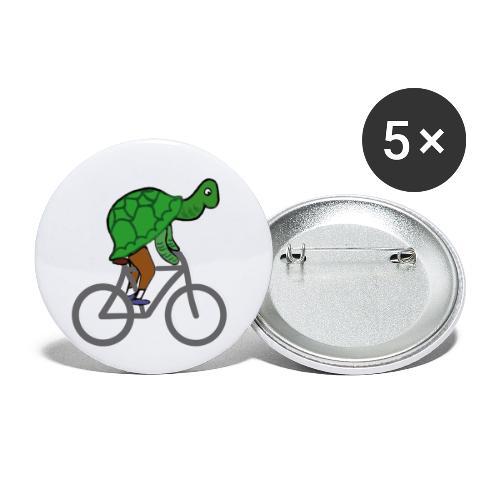 Schildkröte fährt Rad - Buttons klein 25 mm (5er Pack)