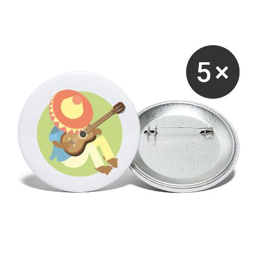 Gitarre spielen - Buttons klein 25 mm (5er Pack)