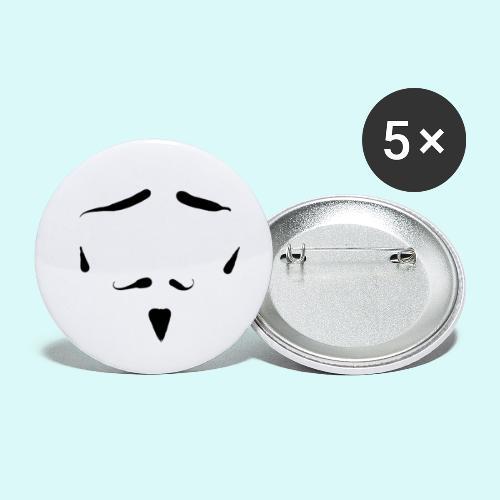 moustache - Lot de 5 petits badges (25 mm)