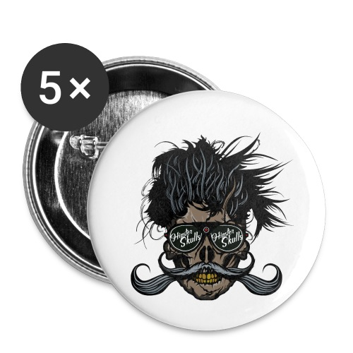 hipster skull tete de mort crane barbu moustache - Lot de 5 petits badges (25 mm)