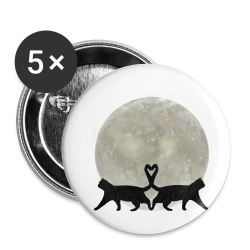 Cats in the moonlight - Buttons klein 25 mm (5-pack)