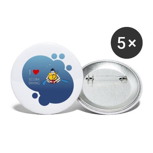 J'aime la plongée sous-marine - plongeur - Lot de 5 petits badges (25 mm)