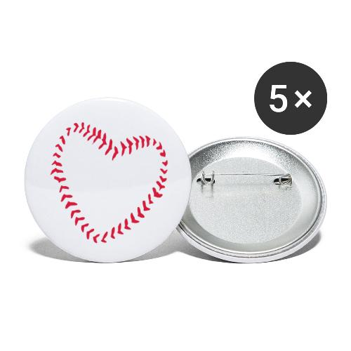 2581172 1029128891 Baseball Heart Of Seams - Buttons small 1''/25 mm (5-pack)