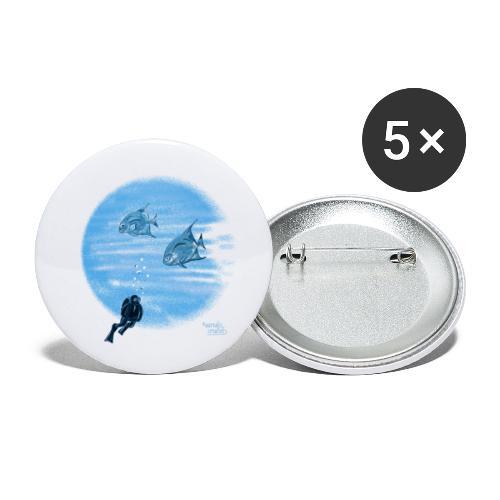 Zilveren visjes - Lot de 5 petits badges (25 mm)
