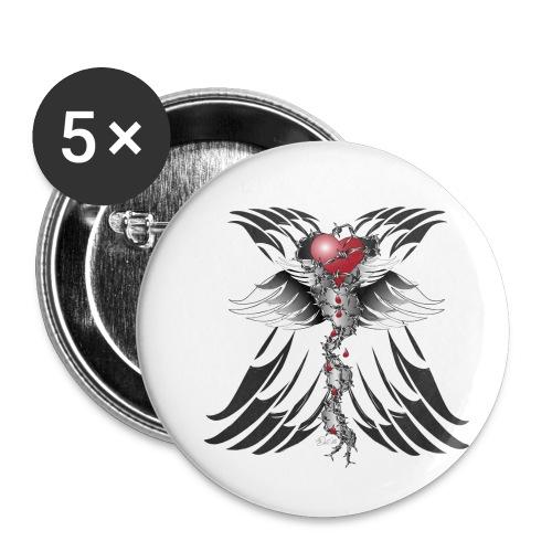 Barbwired Heart - Herz in Stacheldraht - Buttons klein 25 mm (5er Pack)