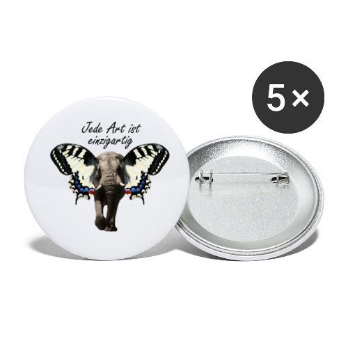 Elefant I Schmetterling - Buttons klein 25 mm (5er Pack)