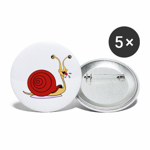 Escargot rigolo red version - Lot de 5 petits badges (25 mm)