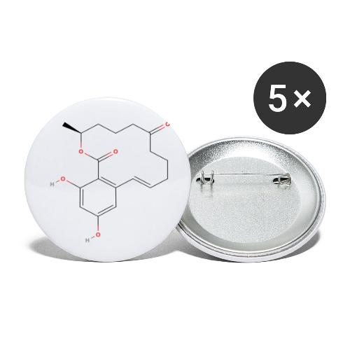 Zearalenone Molecule - Colored Structural Formula - Buttons/Badges lille, 25 mm (5-pack)
