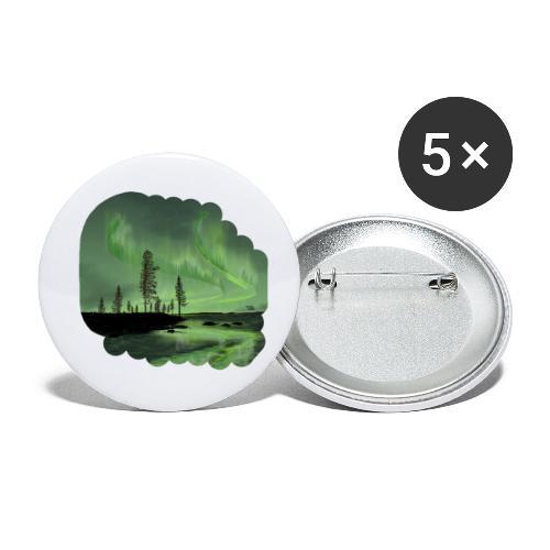 Réflexion des aurores boréales - Lot de 5 petits badges (25 mm)