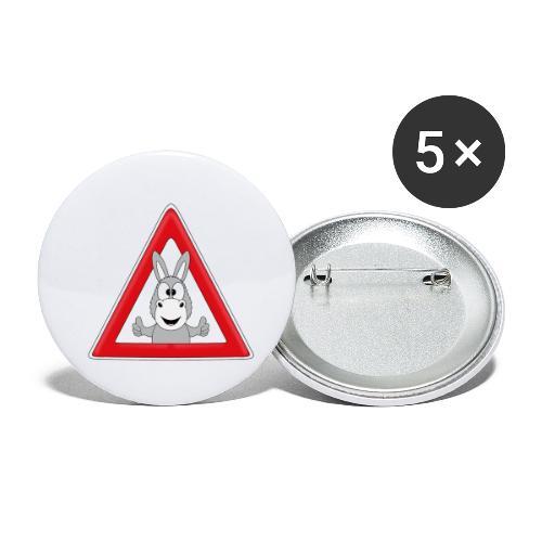 VORSICHT ESEL - TIER - TIERISCH - GESCHENKIDEE - Buttons klein 25 mm (5er Pack)