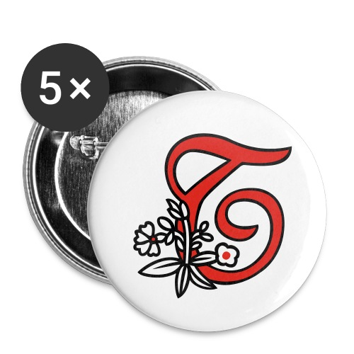 Buchstabe T - Buttons klein 25 mm (5er Pack)