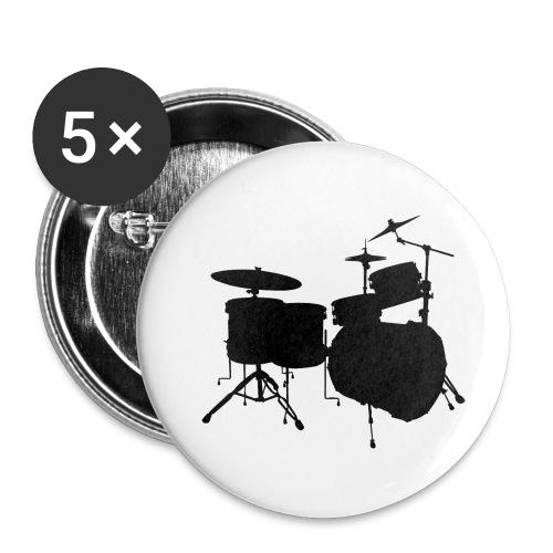 Drumset 2 Kontur schwarz - Buttons klein 25 mm (5er Pack)