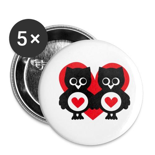 verliebte Eulen - Buttons klein 25 mm (5er Pack)