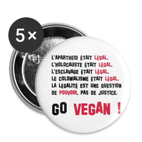 GO VEGAN - Lot de 5 petits badges (25 mm)