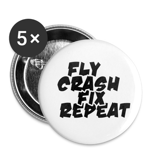 FlyCrashFixRepeat signed - Buttons small 1''/25 mm (5-pack)