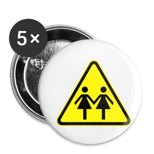 ACHTUNG LESBEN POWER! Motiv für lesbische Frauen - Buttons klein 25 mm (5er Pack)