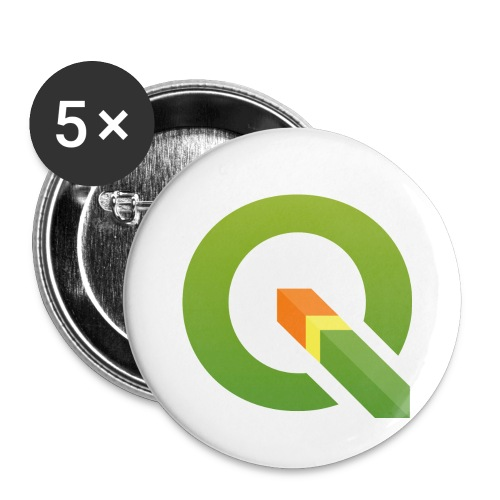 qgis logo 4000x3893px tra - Buttons small 1''/25 mm (5-pack)