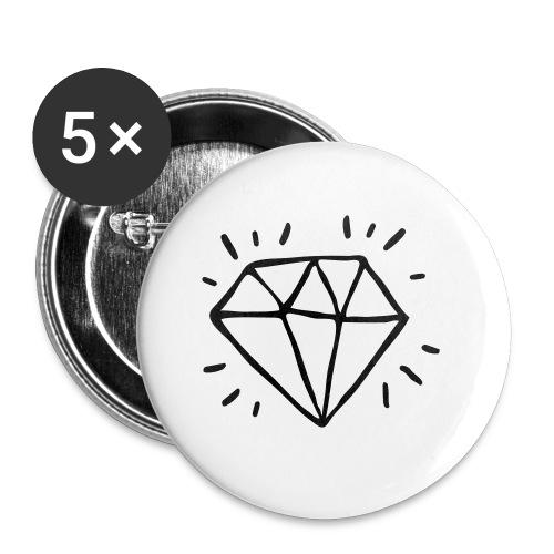 diamant - Lot de 5 petits badges (25 mm)
