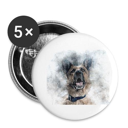 dog hund - Buttons klein 25 mm (5er Pack)