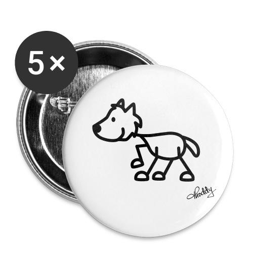 wolf - Buttons klein 25 mm (5er Pack)