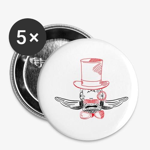 Elegant Hipster Fish - Mustache - Buttons klein 25 mm
